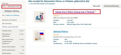 """En sökning på Alessandro på italienska ger resultat på svenska för """"Alexander"""" och smeknamnet """"Саша/Sasha"""" (klicka för större bild)."""