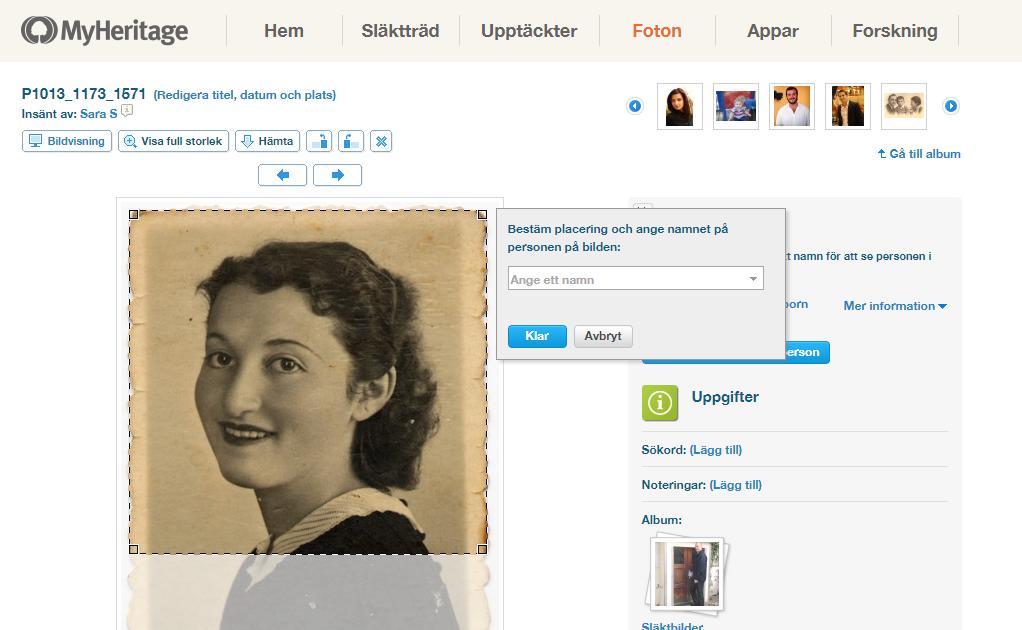 Du kan enkelt ladda upp dina bilder till MyHeritage. Detta innebär att de lagras på ett säkert sätt, att det är enkelt att dela dem med andra och du kan gå tillbaka till dem på Myheritage.se, på din egen dator eller via MyHeritages app.